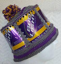 40de3babcbe ... san francisco Handmade VIKINGS Crochet Bud Light Beer Can Hat 76f73  697ea ...