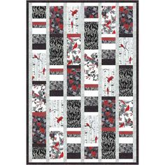 """Hoffman Woodsy Winter Silver Throw Quilt Kit 49.5"""" x 72"""". Linda Fitch Designs"""