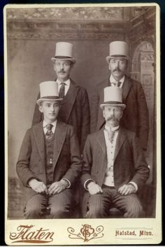 CABINET-PHOTOGRAPH-FASHION-OCCUPATIONAL--4-MEN-4-HATS