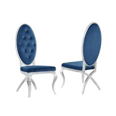 This chic set of 2 navy blue velvet chairs levels up dining sets. The set of 2 feature diamond pattern tufted faux crystal buttons and stainless steel legs in velvet fabric. Rear legs feature x-crossed design. Available in the various velvet colors: grey, black, and cream. Available in white faux leather. Seat height is 19 inches. Weight capacity is 250 pounds. No assembly required.