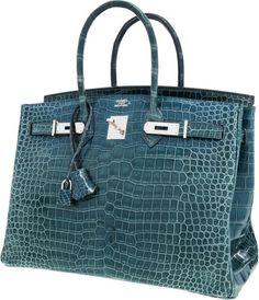 Hermes 35cm Shiny Blue Jean Porosus Crocodile Birkin Bag withPalladium Hardware. ...
