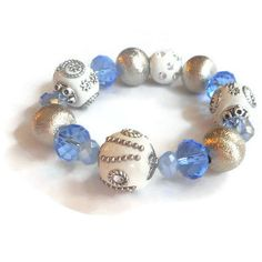 Blue and White Glass Beaded Bracelet by MicaJoBoutique on Etsy