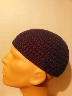 Dark blue kufi beanie skullcap crochet medium by Nadeerah on Etsy