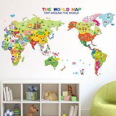 Kids World Map Wall Stickers
