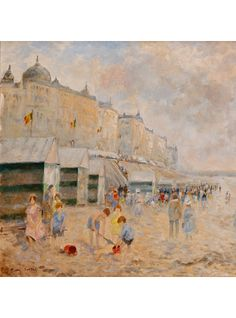 Children on the Beach at Knokke La Zoute, Belgium, by F. Amand Bouvier (1913-1977).