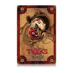 From the Legend Wear licensed collection, this The Last Stand Texas vintage metal sign measures 12 inches by 18 inches and weighs in at 2 lb(s). We hand make all of our vintage metal signs in the USA using heavy gauge american steel and a process known as sublimation, where the image is baked int...