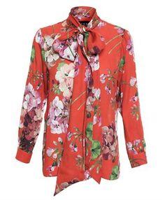 6a40f976604525 GUCCI - Floral Print Silk Blouse Red Blouses, Shirt Blouses, Tie Neck Blouse ,