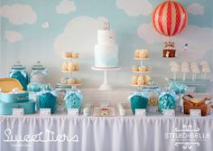 boy's hot air ballon themed christening dessert table www.spaceshipsandlaserbeams.com