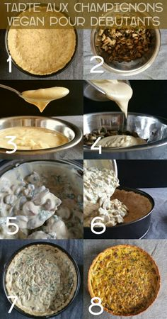 Tarte aux champignons vegan - Celia Na. Quiche Vegan, Vegan Pizza, Vegan Vegetarian, Vegan Meals, Raw Food Recipes, Veggie Recipes, Fall Recipes, Veggie Food, Yummy Veggie