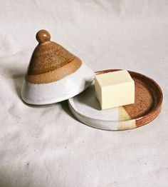 Ceramic Pyramid Butter Dish | Formed by hand into a small cone shape, this ceramic butter di... | Butter Dishes
