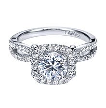 Glamorous Gabriel & Co. White Gold Contemporary Halo Engagement Ring- customization available at Westshore Diamond!