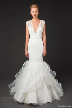 http://www.weddinginspirasi.com/2014/09/13/winnie-couture-wedding-dresses-2014-diamond-label-collection/ winnie couture #wedding dresses 2014 diamond label 3204 vanessa cap sleeve mermaid gown #mermaidgown #weddingdress #weddingdresses
