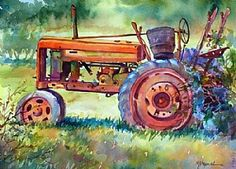 Watercolor painting--old tractor painted in bright hues---on 10 x 14 Arches watercolor paper-- OLD WORKHORSE by Mary Shepard. www.maryshepard.com