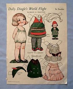 Dolly Dingle Paper Doll in Sweden, 1933 Magazine Page from nowandthen on Ruby Lane