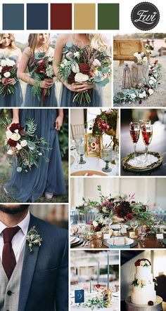 dusty blue, burugndy and gold fall wedding color inspirationNavy/dusty blue, burgundy, gold, green (H&C