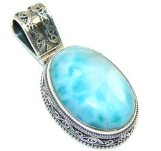 $132.15 Awesome!! Light Blue Larimar Sterling Silver Pendant at www.SilverRushStyle.com #pendant #handmade #jewelry #silver #larimar