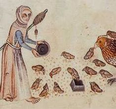 """The Luttrell Psalter, c. 1320-1340. A woman feeding chickens wears a blue dress and a peach surcoat (of very different shape/style than the ladies [in other scenes]); she wears an apron over the surcoat."""