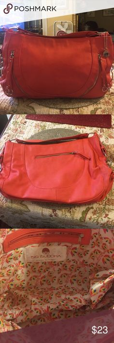 "NWOT BIG BUDDHA Coral Faux Leather Bag This is a gorgeous Big Buddha bag!  It measures 17""W x 11""H x 3""D.  This bag is in perfect condition.  Price is firm. Big Buddha Bags Hobos"