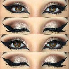 Today's beautiful eye look from beautybyhayley365 using aomcosmetics Extreme Art Liner motivescosmetics shadows in bitter chocolate, twiggy bhcosmetics loose eye shadow in Bring it on