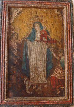 """Retablo """"Virgen del Carmen, con ánimas"""" Colonial venezolano siglo XVIII, oleo/tabla, med: 33X23 cms."""