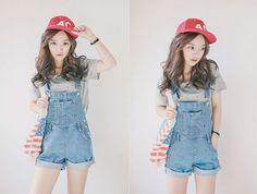 Cap+jeans cawaii girl