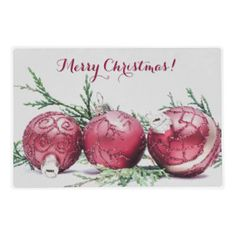 Christmas Glitter Ornaments Oil Painting - - -  A #digital #oil #painting of three #burgundy #wine #red #Christmas #tree #ornaments, decorated with #sparkling red #glitter and #gold ribbon, sitting on a small branch of #green #cedar #fir. - - -    Take a look at all my designs at Zazzle!  http://tinyurl.com/leo9be9