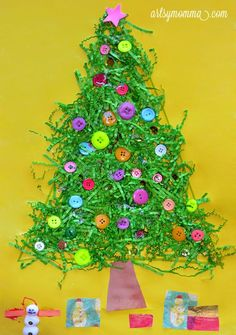 Draw triangle on large paper (leave room for trunk)  Fill with glue and add green crinkle paper. When dry embellish with buttons, stickers, pompoms, ribbon etc. Glue on brown trunk. Cut out squares from wrapping paper for presents under the tree.