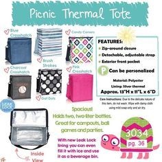 Picnic Thermal Tote - Thirty One   Facebook Group: https://www.facebook.com/groups/treasuresfromdj/     Want to have a Party? Contact me!      Shop at: http://www.trendybags.net