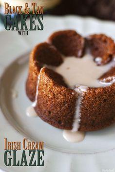 Black & Tan Cakes with Irish Cream Glaze