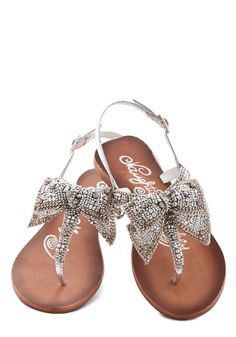 Twinkling Trimmings Sandal in Silver. You love looking festive - but in warmer climes, it can be difficult to rock a heavy knit sweater, so slip on these silver beaded sandals! Cute Sandals, Shoes Sandals, Beaded Sandals, Sparkly Sandals, Flats, Heels, Pretty Sandals, Jeweled Sandals, Silver Sandals