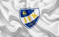 Download wallpapers Mariehamn FC, 4k, Finnish football club, emblem, logo, Finnish Premier Division, Mariehamn, Finland, football, silk texture