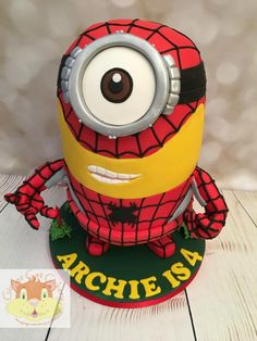 Spiderman minion by Elaine - Ginger Cat Cakery