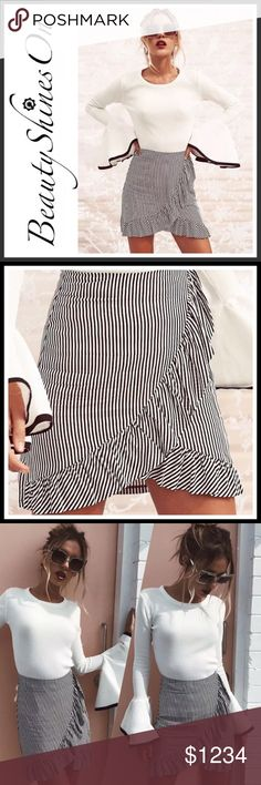 ‼️Coming Soon‼️ SONJA Mini Skirt ➖ Style: Bodycon striped high waisted mini skirt with ruffles. ➖ Size: S•M•L•XL ➖ Material: Cotton Polyester Spandex Blend   Measurements & sizing recommendations are for guidance only.  All sales final. No refunds/returns/exchanges.  Please ask questions prior to purchasing.   Thanks for visiting & Happy Poshing!  ❌ Sorry, No Trades ☑️ Boutique Prices are Firm ☑️ Bundle to Save  Tag: Ruffle Feminine Flirty Mini Boutique Skirts Mini