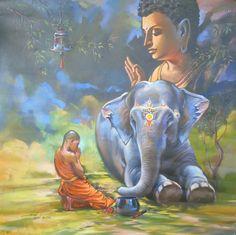 Budha Painting, Ganesha Painting, Painting Art, Buddhist Symbols, Buddha Art, Buddha Quote, Gautama Buddha, Avatar, Indian Paintings