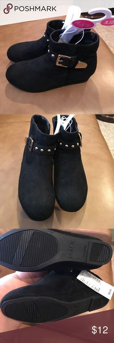 Girls booties Brand new with tags black suede bottles with gold studs and buckle and zipper closure. Sooooooo cute!!! Children's Place Shoes Boots