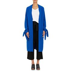 Ji Oh Women's Slit-Cuff Wool-Cashmere Oversized Cardigan ($980) ❤ liked on Polyvore featuring tops, cardigans, blue, oversized tops, tie cardigan, oversized cardigan, cashmere cardigan and long wool cardigan