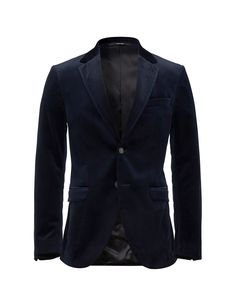 """Men's blazer in velvet. Features slightly wider notch lapels. Two-button closure. Straight double jet pockets and double back vents. Slim fit. </br></br>For a complete suit look wear it with <a href=""""http://tigerofsweden.com/dk/trousers/matte-3-trousers-T64165004.html"""" style=""""font-weight:bold; text-decoration: underline;"""" target=""""_blank"""">Matte trousers</a>"""