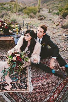 Bohemian Arizona desert wedding inspiration | Wedding & Party Ideas | 100 Layer Cake