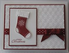 Beautiful Christmas Card idea from Glenda Mollet - stocking punch with snow burst embossing folder
