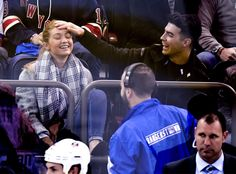 Ansel Elgort Wipes Out in Front of Gigi Hadid and Joe Jonas at NY Rangers Hockey Game as Couple Shows Sweet PDA: Pics! | E! Online