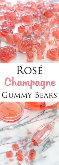 Rosé Champagne Gummy Bears - easy to make and perfect for parties or gifts. Party Drinks, Fun Drinks, Yummy Drinks, Yummy Food, Cocktails, Wine Parties, Beverages, Drinks Alcohol, Party Snacks