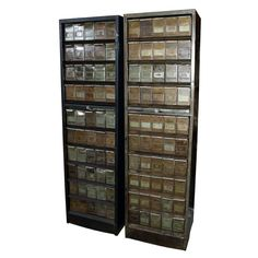 French Industrial Metal Card Filing Cabinets