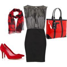 teacher clothes red & grey