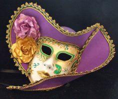 Venetian Mask Masquerade Lady Ladies Pirate Hat Purple Green & Gold Halloween - http://www.halloween.quick-reviews.com/6350/venetian-mask-masquerade-lady-ladies-pirate-hat-purple-green-gold-halloween.html