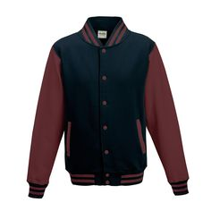 Just Hoods JH043 Oxford Navy and Burgundy Varsity Jacket - £19.35