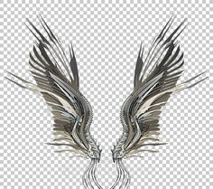 Stylish robotic wings on dark background. Buy lossless image with alpha
