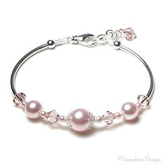 Rose Chiffon Swarovski Crystal and Pearl by whimsydaisydesigns, $30.00