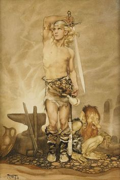 Siegfried 1932 / The Ring of The Nibelung / Watercolor on paper. Art by Gustaf Adolf Tenggren. (1896-1970).