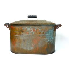 Antique Atlantic Copper Wash Tub Basin With Lid by marybethhale, $140.00