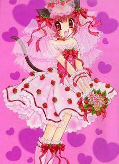 "Ichigo's dress design is a play on her name, which means ""strawberry"" in Japanese. Old Anime, Anime Manga, Anime Art, Strawberry In Japanese, Tokyo Mew Mew Ichigo, Inuyasha Anime, Kawaii Chan, Hokusai, Animes On"
